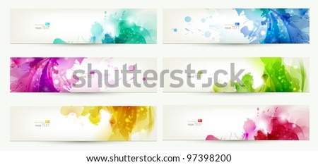 set of six  banners, abstract  headers with varicolored  blots - stock vector