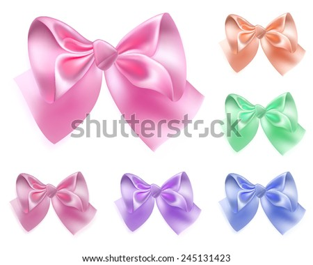 Set of six bows made of colored silk ribbons - stock vector