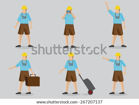 Set of six cartoon character of a typical tourist wearing bright clothing, carrying camera and luggage isolated on grey background. - stock vector