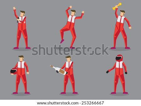 Set of six cartoon characters in red suit as professional sports car racing isolated on grey background. - stock vector