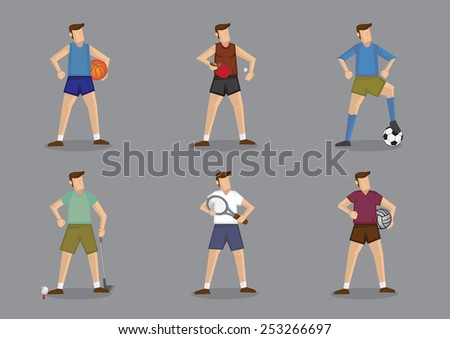 Set of six cartoon characters wearing different sports attire for the various ball games. Vector illustration isolated on grey plain background - stock vector