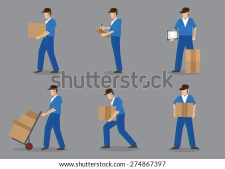 Set of six cartoon delivery man in blue uniform and black cap carrying boxes and cartons. Vector characters isolated on plain grey background. - stock vector