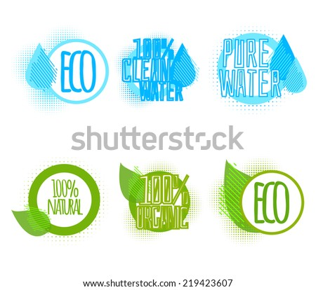Set of six clear water and ecology logos - stock vector