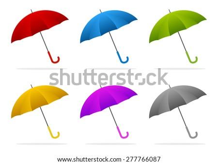 set of six color umbrellas - stock vector