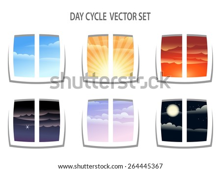 Set of six  colorful day cycle images. Different times of the day from window view. Isolated on white background. - stock vector