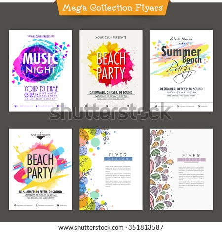 Set of six creative Flyer, Banner or Template design for Music Party celebration. - stock vector