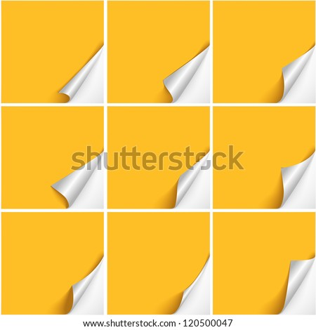Set of six curved corners on yellow sheets with realistic shadows. Vector design. - stock vector