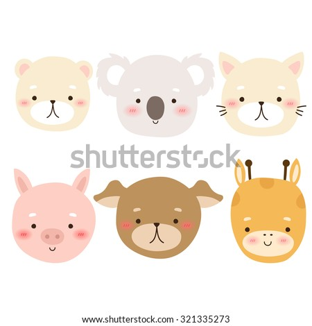 set of six cute cartoon animal character on white background. cute bear, koala, cat, piggy, dog and giraffe can be used for greeting cards and party invitations - stock vector