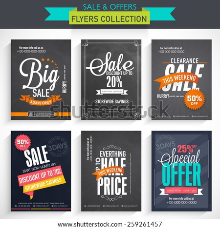 Set of six different Sale flyers with fantastic discount offer - stock vector