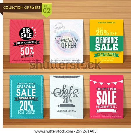 Set of six different Sale flyers with fantastic discount offer on wooden background.  - stock vector