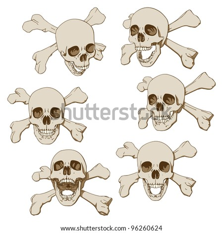 Set of Six Drawings of Human Skull with Crossbones. Vector Illustration - stock vector