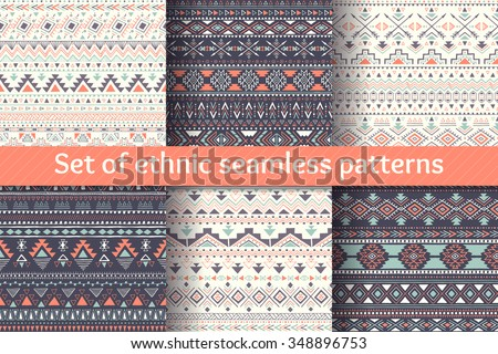 Set of six ethnic seamless patterns. Aztec geometric backgrounds. Stylish navajo design. Modern handmade abstract wallpaper. Vector illustration. - stock vector