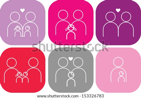 set of six family icons - stock vector