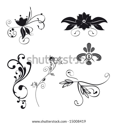 Set of six floral ornaments illustration. Vector file with separated itens. - stock vector
