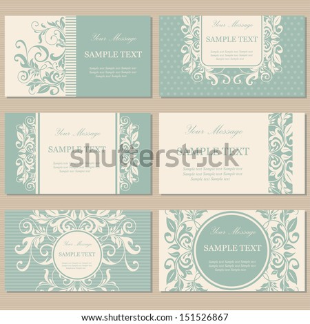 Set of six floral vintage business cards, invitations or announcements. - stock vector