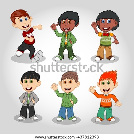 Set of six happy boys cartoon vector illustration - stock vector