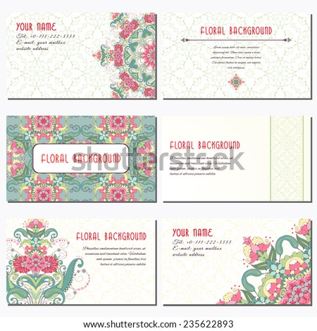 Set of six horizontal business cards. Beautiful oriental floral pattern and a round decor. Seamless delicate ornament. Delicate green and pink. Place for your text.  - stock vector