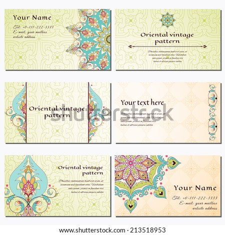 Set of six horizontal business cards. Oriental floral pattern. Simple delicate ornament. Place for your text. Complied with the standard sizes. - stock vector