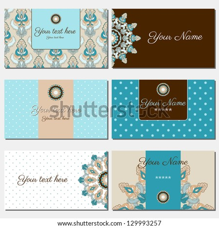 Set of six horizontal business cards. Oriental pattern. Complied with the standard sizes. - stock vector