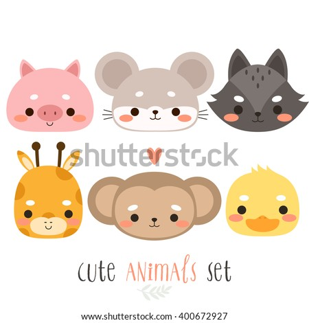 set of six illustration of cute cartoon animals. illustration of cute pig, mouse, wolf, giraffe, monkey and duck on white background. can be used for cards or birthday invitations - stock vector