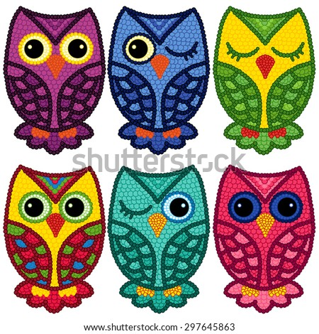 Set of six motley funny owls with circle elements isolated over white background, cartoon vector illustration - stock vector