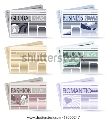 set of six Newspapers - stock vector