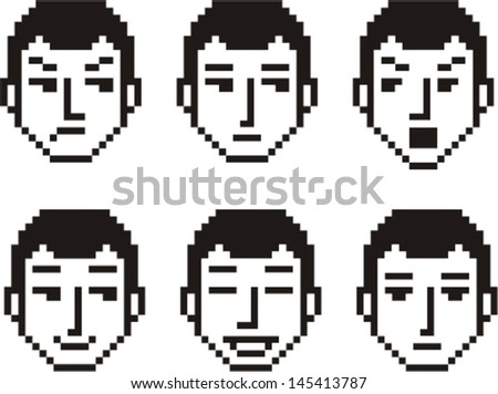 Set of six pixelated faces of a young man in various mood expressions. - stock vector