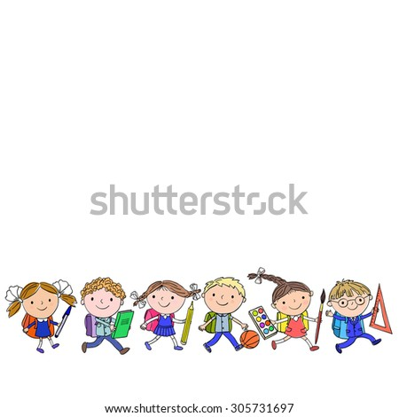 Set of six pupils with big school supplies on a white background - stock vector