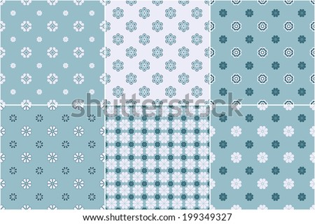 Set of six seamless patterns. Different texture with flowers in blue color. Vector illustration.  - stock vector