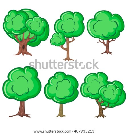 Set of six smooth old trees isolated over white - stock vector