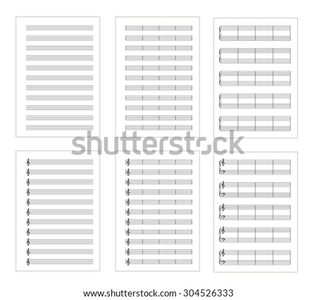 Set of six types music note staves, a4 blank pages isolated on white - stock vector