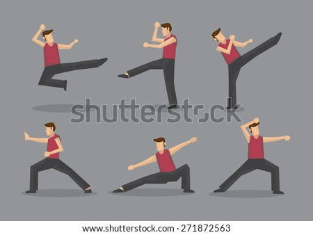 Set of six vector cartoon character demonstrating Chinese style martial arts moves isolated on plain grey background. - stock vector