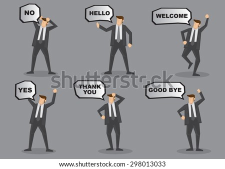 Set of six vector cartoon illustration of businessman in suit with speech balloon and animated body language and gestures isolated on grey background. - stock vector
