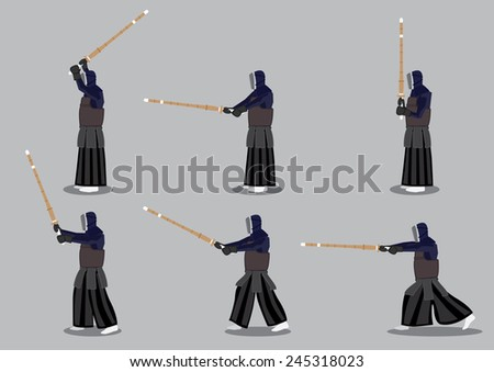 Set of six vector icon man in profile view practicing kendo, a modern Japanese martial art that uses bamboo sword. - stock vector