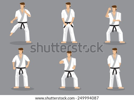 Set of six vector icons of full body cartoon man practicing basic karate moves isolated on grey background. - stock vector