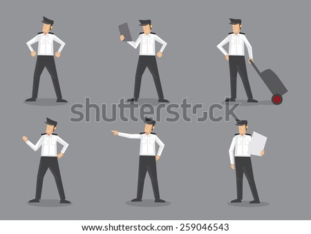 Set of six vector illustration of aircraft pilot or airline captain in black and white uniform. Cartoon characters isolated on grey background. - stock vector