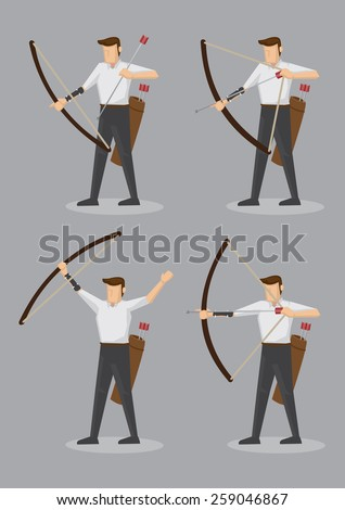 Set of six vector illustration of character of an archer with bow and arrows isolated on grey background. - stock vector