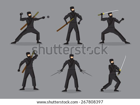 Set of six vector illustration of Japanese ninja in black suit and mask holding different weapons. Cartoon characters isolated on grey background. - stock vector