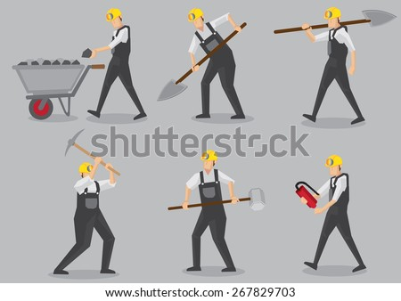 Set of six vector illustration of miner carrying mining tool and equipment in action. Cartoon characters isolated on plain grey background. - stock vector