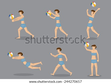 Set of six vector illustration of woman in swim wear playing beach ball and having fun isolated on grey background - stock vector