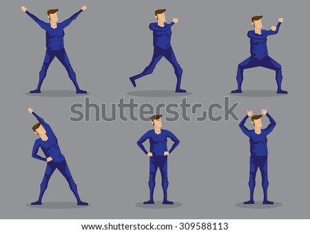 Set of six vector illustrations of cartoon man in blue one-piece skin-tight active wear isolated on grey background. - stock vector