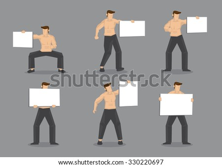 Set of six vector illustrations of muscular man wearing only black pants with bare torso holding blank placard sign with copy space isolated on plain grey background. - stock vector