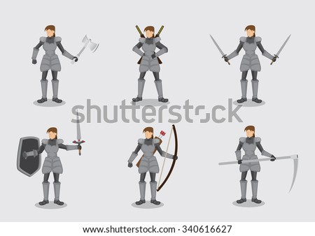 Set of six vector illustrations of woman in medieval knight armor suit with variety of battle weapons isolated on plain background. - stock vector