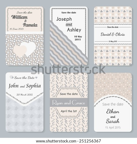 Set of six vector retro invitation templates in pastel colors. Elegant vintage wedding day card. Celebration design. Graphic patterns. Greeting banner.  - stock vector