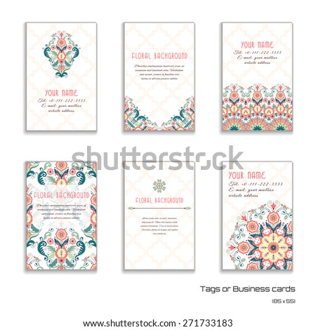 Set of six vertical business cards. Vector floral pattern in modern style. Moroccan tiles ornament. Place for your text. - stock vector