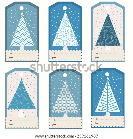 Set of six winter gift tags with fir trees (vector template) - stock vector
