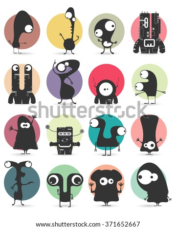 Set of sixteen stickers with cute monsters. Cartoon illustration. Vector set - stock vector