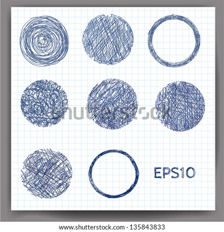 Set of sketch circles. Vector illustration - stock vector