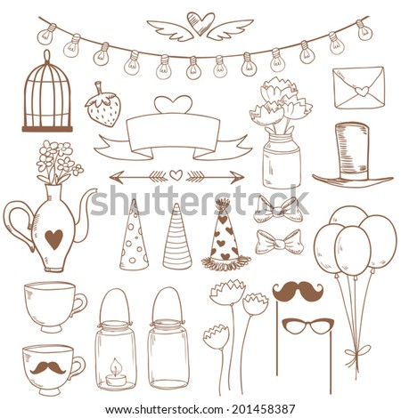 Set of sketch cute party elements. Vector illustration - stock vector