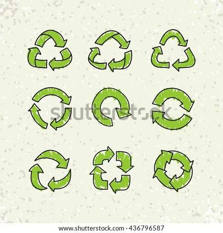 Set of sketch doodle recycle reuse symbols isolated on craft paper background. Hand drawn vector recycle icon. Recycle signs for ecological design, recycling icons - stock vector